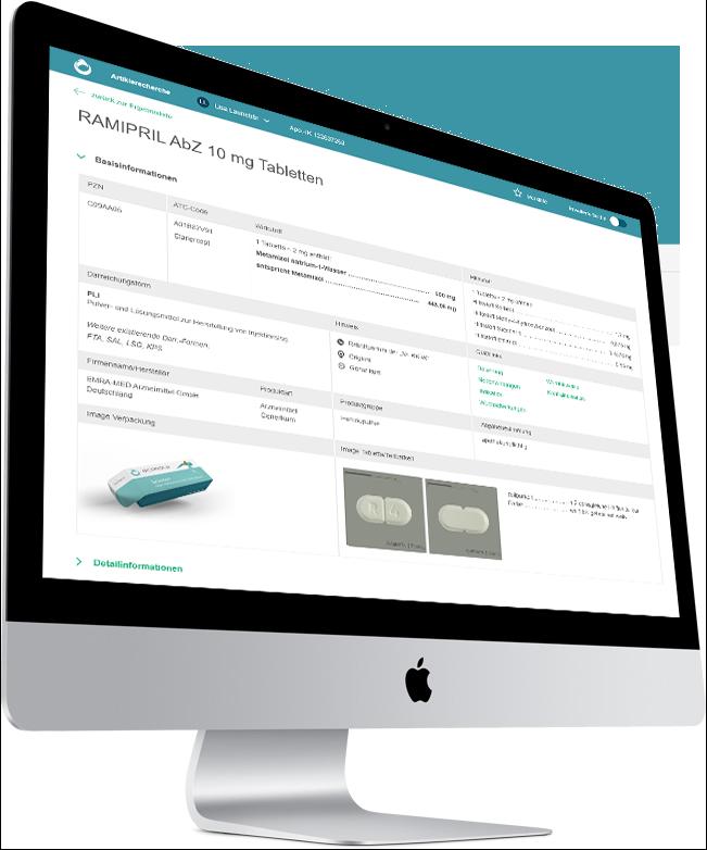 Produktvisualisierung Artikelrecherche der scanacs-Plattform für Apotheken mit iMac
